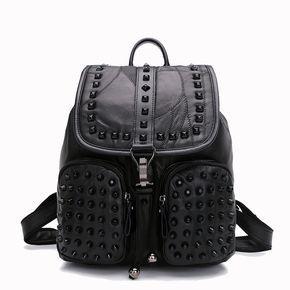 Mochilas modernas mochila de piel elegantes para femenina con grandes remaches negra [AL93138] - €52.28 : bzbolsos.com, comprar bolsos online