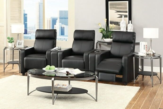 "5 pc Toohey home theater collection black leather like vinyl recliners with console centers.  This includes 3 push back recliners and 2 center consoles with cup holders.  Additional recliners and consoles available additionally.  Set measures 116.5"" W x 28.75"" x 41.75"" H.  Some assembly required."