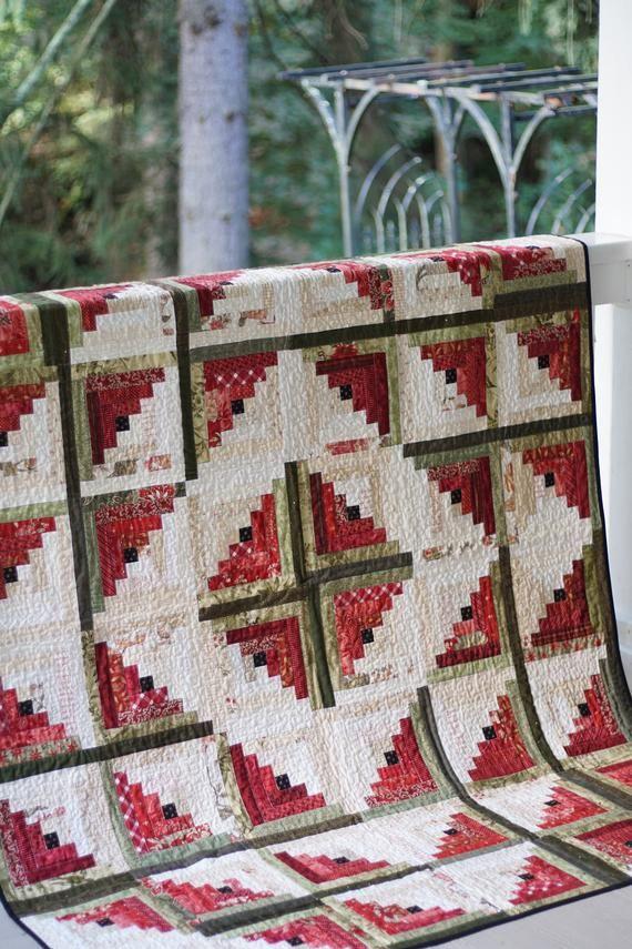 Quilt Patterns PDF Log Cabin Quilt Pattern Easy Quilt Pattern Beginner Quilt Pattern Scrappy Quilt Pattern