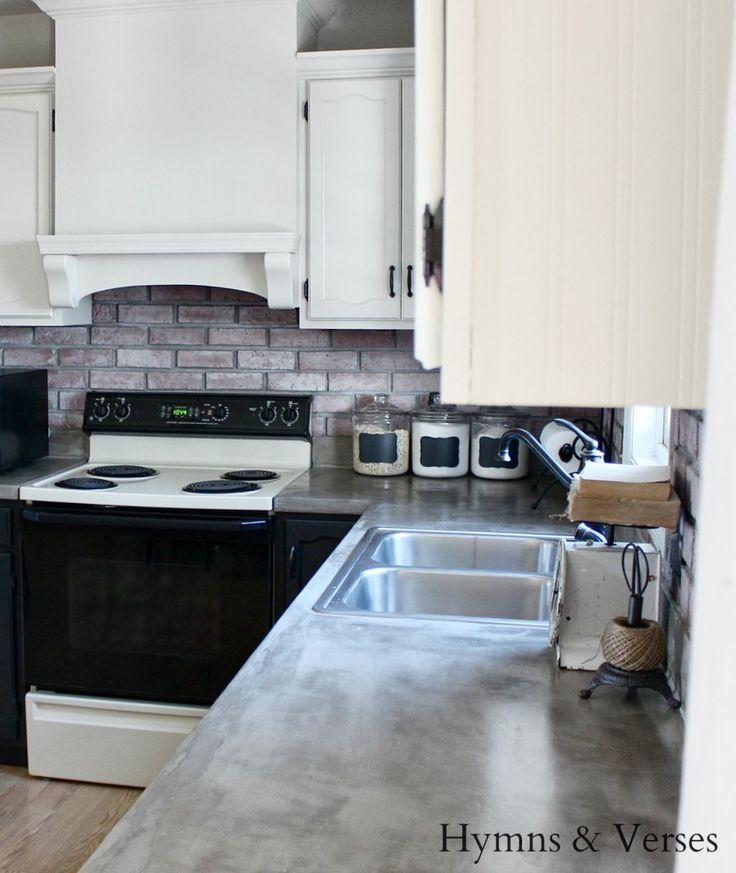 Diy kitchen remodel with painted kitchen cabinets formica countertops covered with concrete - Diy redo kitchen countertops ...