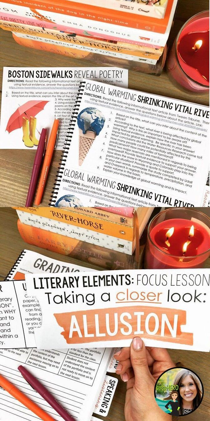 ELA resources and activities for 7th and 8th grade | Middle school English | The SuperHERO Teacher | Hands-on activities | Interactive notebook