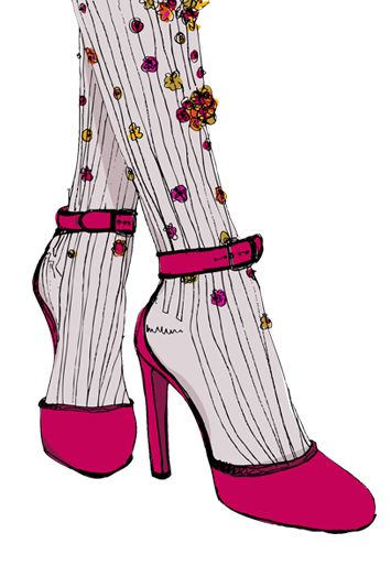 Beautiful tights worn with beautiful shoes!  Illustration by Holly Acland