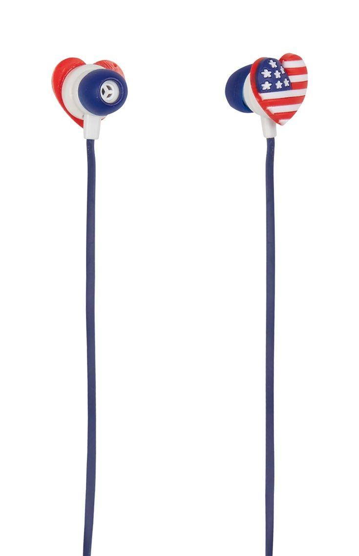 Primark - �couteurs drapeau USA silicone