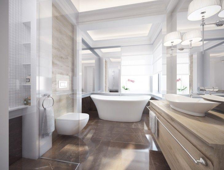 Wystrój łazienki w kamieniu. Eleganckie wnętrze w stylu Hamptons z wolno stojącą wanną otoczoną lustrami i naturalnym kamieniem.