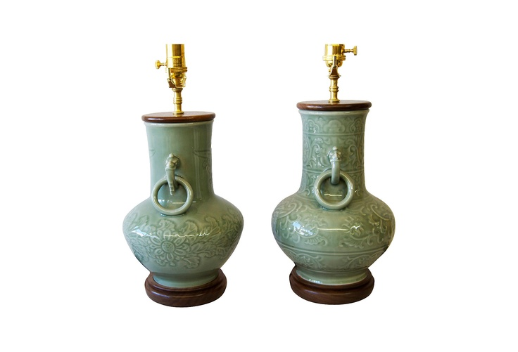 Ceramic Celadon Lamps, Pair - One Kings Lane - Vintage & Market Finds - Lighting $875/pr.: Lights 875 Pr, Vintage Market, Celadon Lamps, Marketing Finding, Ceramics Celadon, King Lane