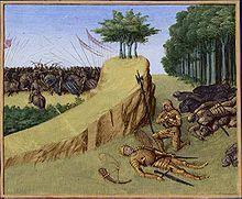 """15 aout 778: Défaite des armées franques à la bataille de RONCEVAUX. 1)Mort de Romand, dans les Grandes chroniques de France, enluminées par Jean Fouquet, Tours, v. 1455-1460, BNF. Dans les gorges des Pyrénées (le co lde Roncevaux n'est mentionné que par la Chanson de Roland, au XI°s), les Vascons écrasent l'arrière garde de Charles. Selon Eginhard, ROLAND (""""Hruodlandus""""), comte de la marche de Bretagne, Eggihard, sénéchal du roi et Anselme, comte du Palais, sont tués dans ce désastre."""