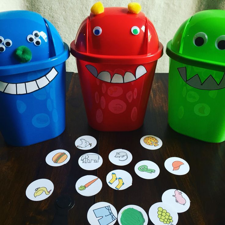 Feed the Monster language activity using dollar store mini trash cans and craft supplies--categories, colors, etc. Great for preschool and young elementary!