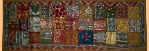 """""""handmade"""" Hand Embroidered Antique Patches Wall Runner/tapestry/throw From India !! Green Cotton Poyester Tapestries Runner Throw Decor Table Decor Made Tapestry"""