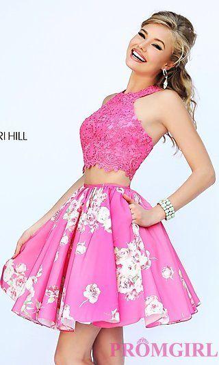 Short Two Piece Print Dress By Sherri Hill At Promgirl Com