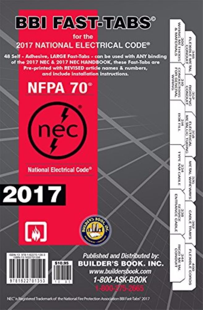 2017 National Electrical Code NEC Fast-Tabs by Builder's Book