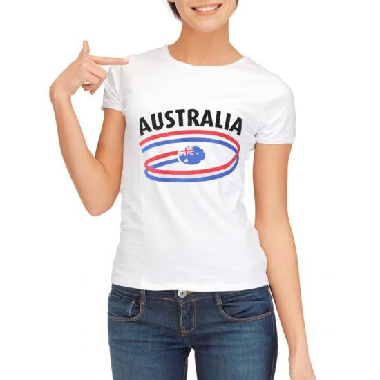 Australie t-shirt voor dames met vlaggen print  Australie t-shirt voor dames. Wit dames shirt met een opdruk van de Australische vlag. Kwaliteit: 150 grams. Materiaal: 100% katoen. Het Australia t-shirt mag maximaal op 40 graden gewassen worden en mag niet worden gestreken in verband met de landen opdruk.  EUR 11.50  Meer informatie