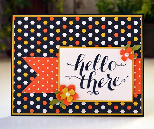 Blendabilities were used to color some hexagons in this Back to Black dsp. Totally changes the look of the paper. This card also features Hello There (hostess). All supplies from Stampin' Up!