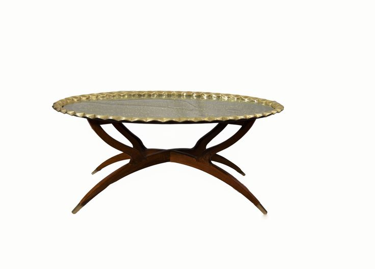 Mid Century Modern Brass Coffee Table: Moroccan Brass Coffee Table Folding Spider  Legs Hammered Brass Tray Table Hollywood Regency MCM Table | Pinterest ...