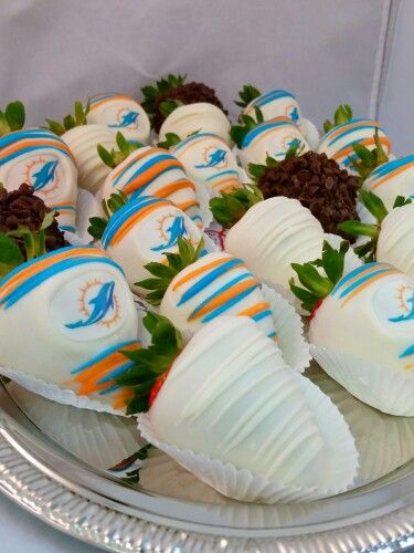 Miami Dolphins Football Strawberry Chocolate Dipped Strawberries Touchdown