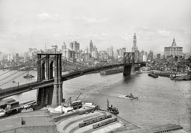 "New York circa 1915. ""Brooklyn Bridge, East River and skyline."""