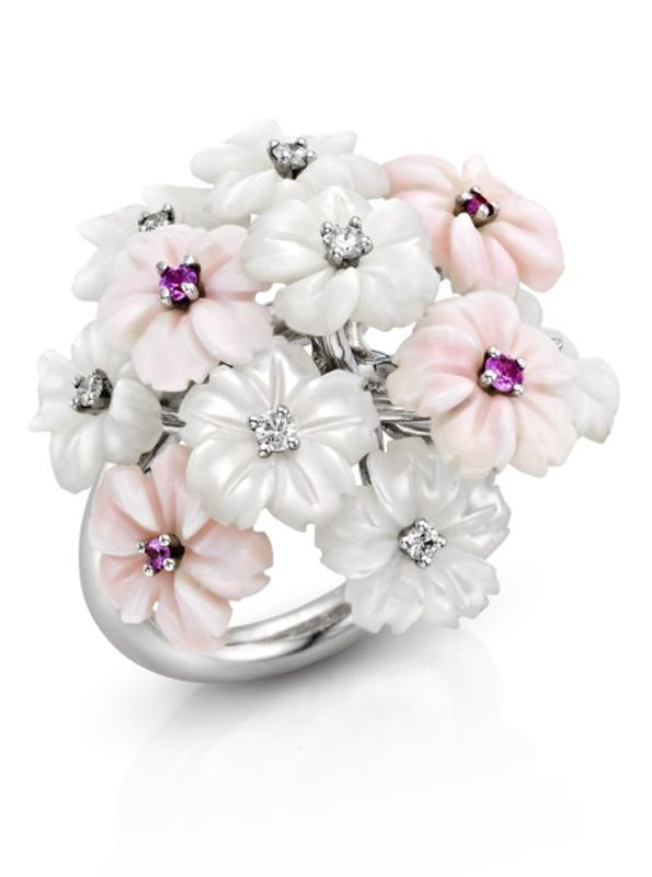 White and Pink Mother of Pearl Flower Ring adorned with Diamonds and Pink Sapphires.