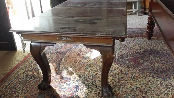 6ft Riley antique snooker dining table. Ball and claw feet | Browns Antiques Billiards and Interiors.
