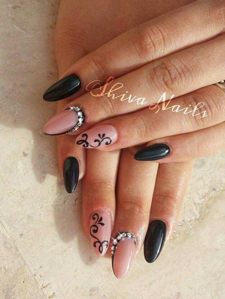 Nero rosa strass ghirigori