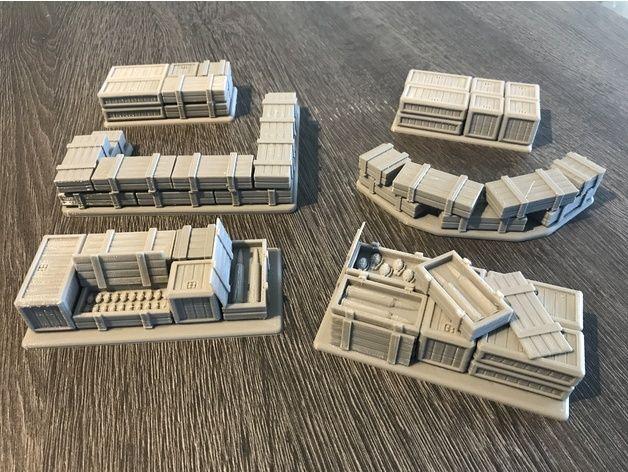 Warhammer 30K / 40K - Terrain - Crates / Pallets / Defenses
