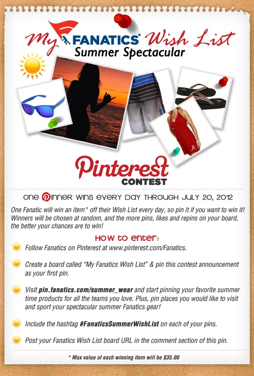 One Fanatic will win an item off their Wish List every day, so pin it if you want to win it! #FanaticsSummerWishList pinterest.com/... Terms & Conditions here: fanaticssweeps.co...