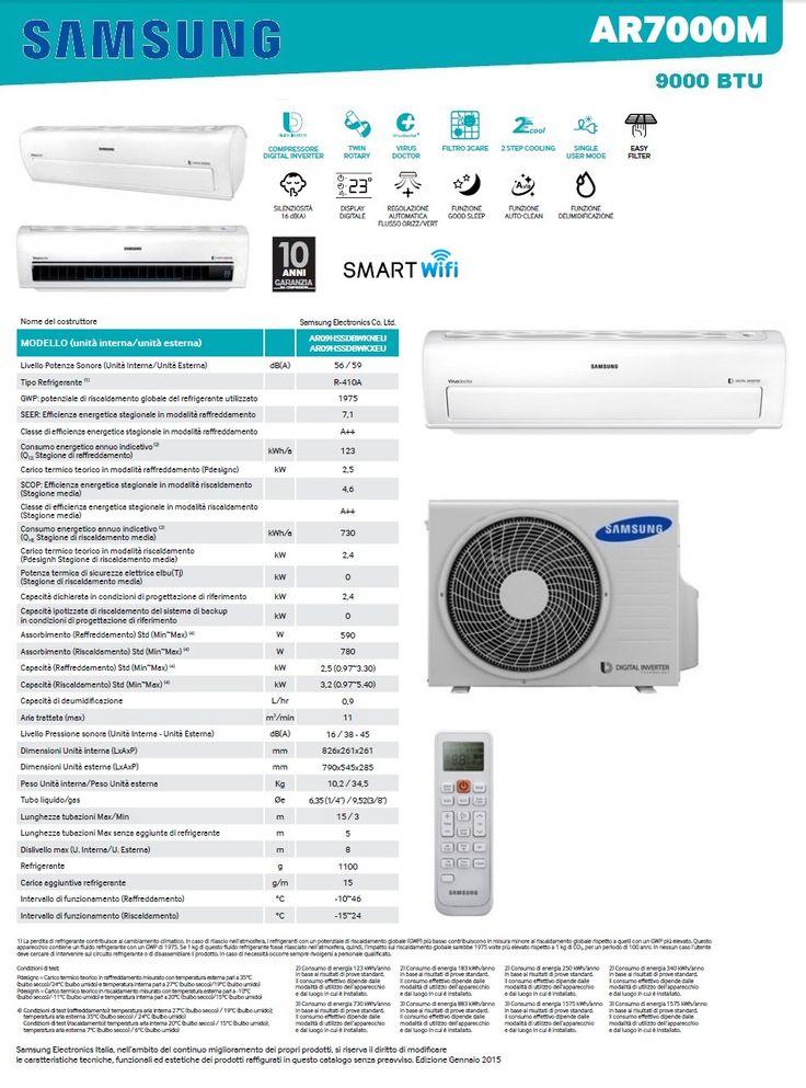 CONDIZIONATORE SAMSUNG AR7000M 9000 BTU INVERTER A++ WIFI   Climamarket