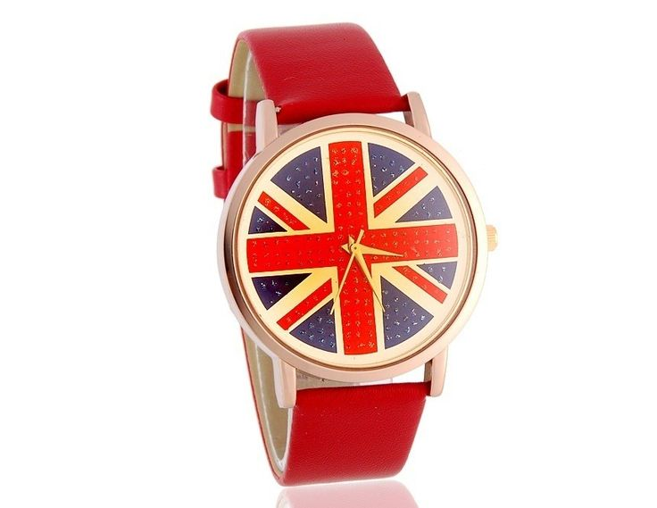 Fashion Round British Flag Pattern Dial Analog Wrist Watch with Faux Leather Strap