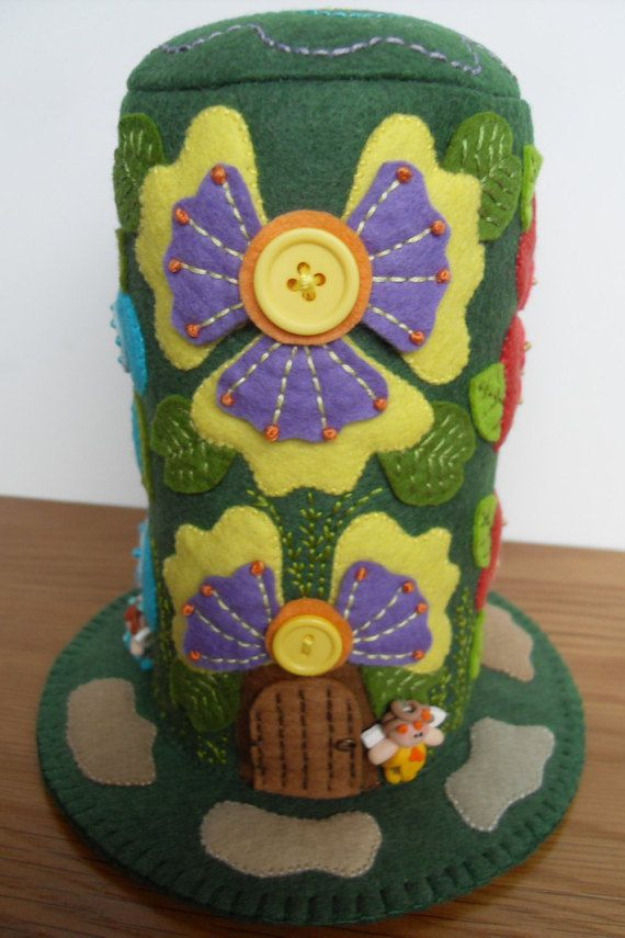 Big Blooming Fairy Houses - Large Felt Pincushion