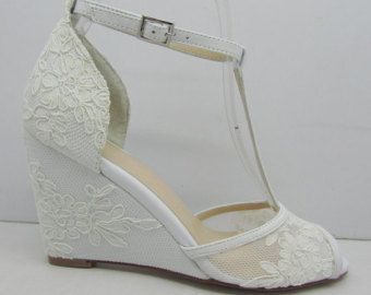 Lace Wedding Shoes,Lace Wedge Bridal Shoes,Peeptoes Wedding Shoes, Wedge Heel Lace Shoes, Prom Shoes