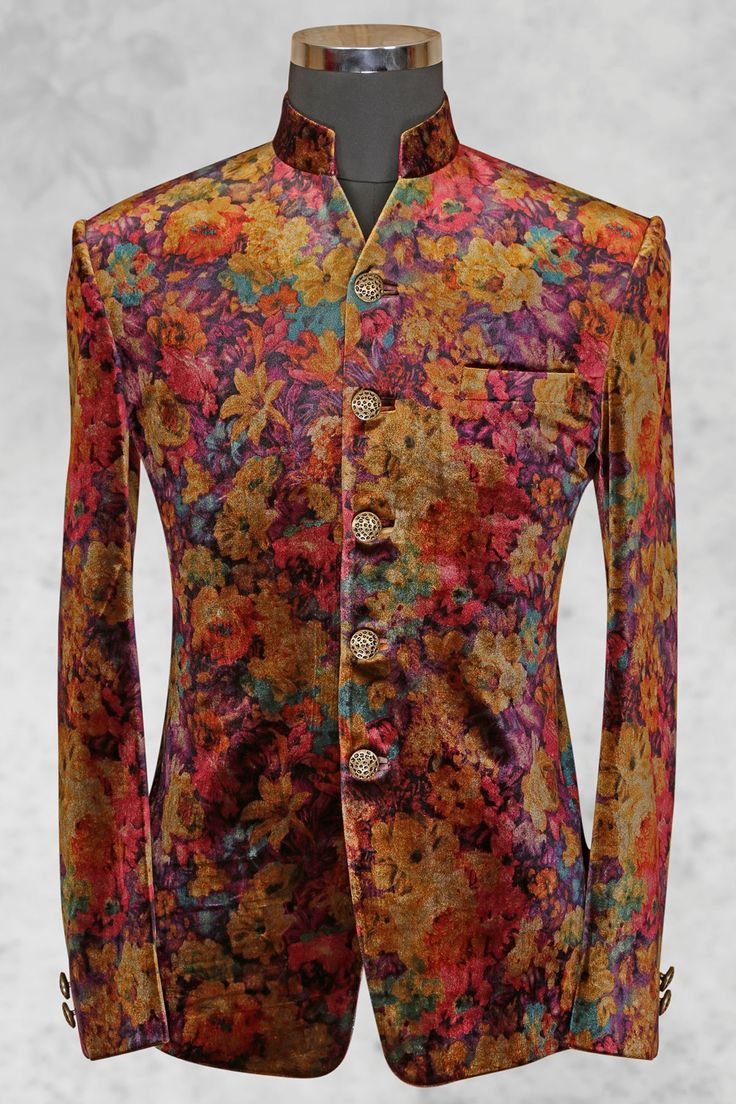 #Multicolor graceful #velvet suit with bandhgala collar-ST500