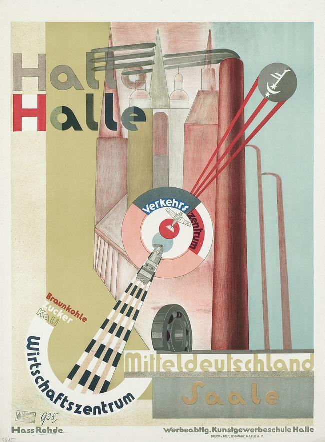 Hallo Halle - Mitteldeutschland Saale Verkehrszentrum (Eisenbahn, Flugzeug) Wirtschaftszentrum Braunkohle, Kali, Zucker Entwurf Erwin Hahs (Hass) & Werner Rohde (Werbeabteilung Kunstgewerbeschule Halle (Burg Giebichenstein)), Deutschland 1926/1927.