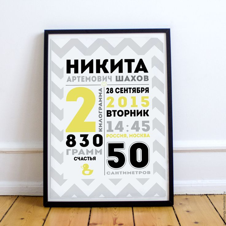 Купить Постер Метрика - разноцветный, метрика, постер в детскую, дизайн, годовасие, день рождения