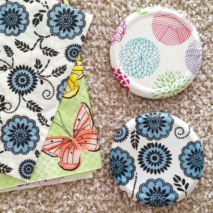 decorar tapas de frasco con servilleta y papel de regalo a travs de decoupage