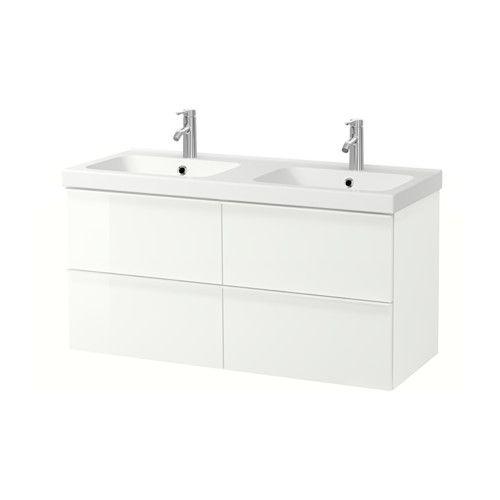 IKEA - GODMORGON / ODENSVIK, Kast voor wastafel met 4 lades, hoogglans wit, , Gratis 10 jaar garantie. Raadpleeg onze folder voor de garantievoorwaarden.Soepel lopende en zachtsluitende lades met blokkeerstuk.Je kan de grootte van het vak in de lade makkelijk veranderen door het tussenschotje te verplaatsen.De inhoud van de lades is overzichtelijk en makkelijk bereikbaar, omdat je ze volledig kan uittrekken.Lades van massief hout met een bodem van krasbestendig melamine.Perfect voor met ...