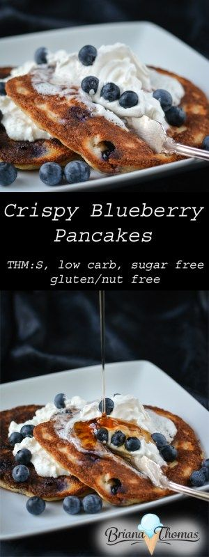 Crispy Blueberry Pancakes - fried in coconut oil, these have an amazingly crispy crust!  THM:S, low carb, sugar free, gluten/nut free