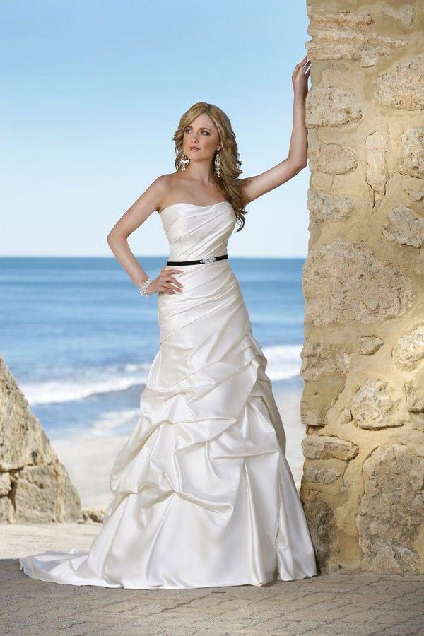 Strapless Trumpet Pick-up Satin Beach Wedding Dress With Ribbon #muslim_wedding_dresses #plus_size_wedding_dress #coast_wedding_dresses