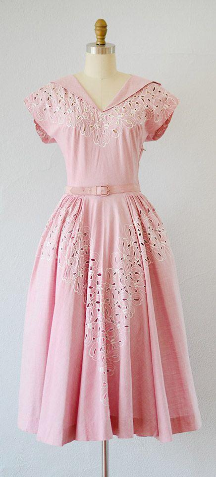 vintage 1940s dress   40s vintage dress   vintage 1940s pink cotton eyelet spring dress