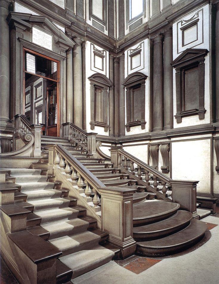 Biblioteca Laurenziana, interior creat de Michelangelo, la Florenza, Italia.