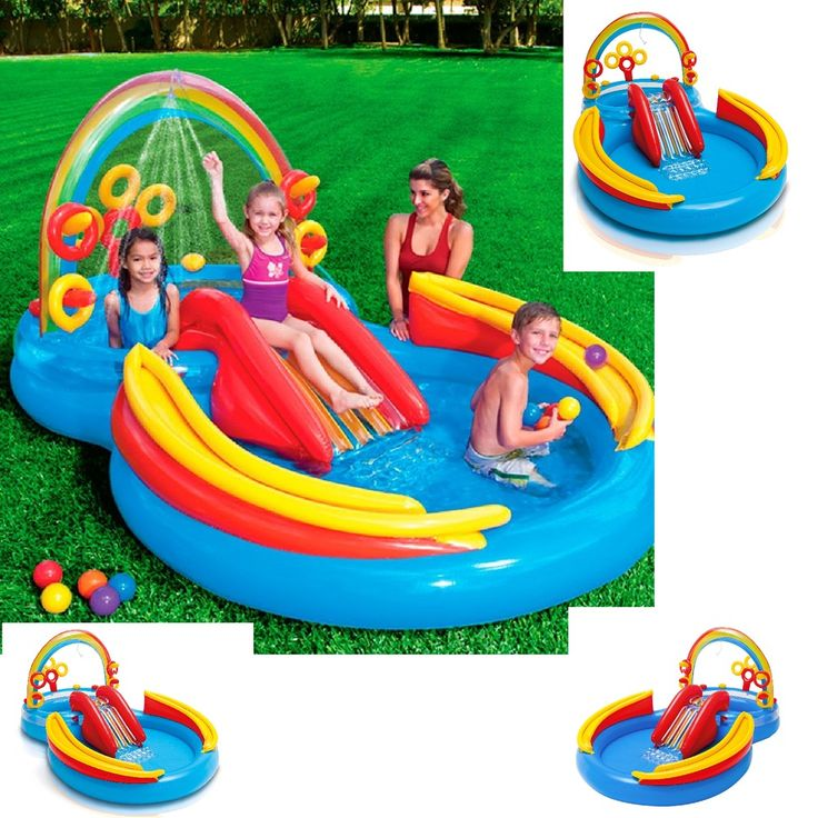 "Intex Rainbow Ring Inflatable Play Center 117"" X 76"" X 53""  New Pool Summer #Intex"
