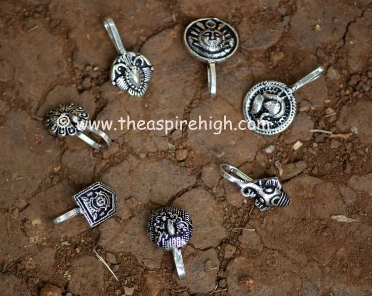 German Silver Nose Clips Set Of 7 Pieces Pattern 3