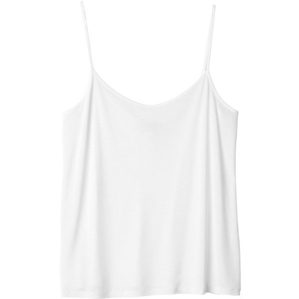 Monki Rosie singlet ($4.56) ❤ liked on Polyvore featuring tops, shirts, tank tops, tanks, wondrous white, white tank top, monki, white tank, white shirt and white singlet