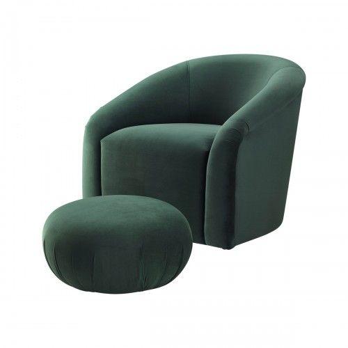 Cool Velvet Forest Green Barrel Chair Matching Footstool Theyellowbook Wood Chair Design Ideas Theyellowbookinfo