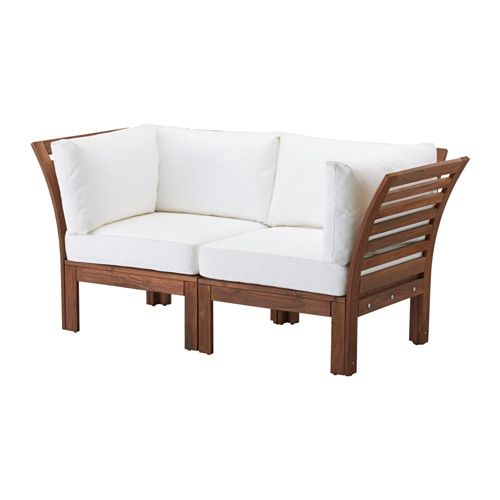 ÄPPLARÖ / KUNGSÖ Loveseat, outdoor, brown stained, white brown stained/white