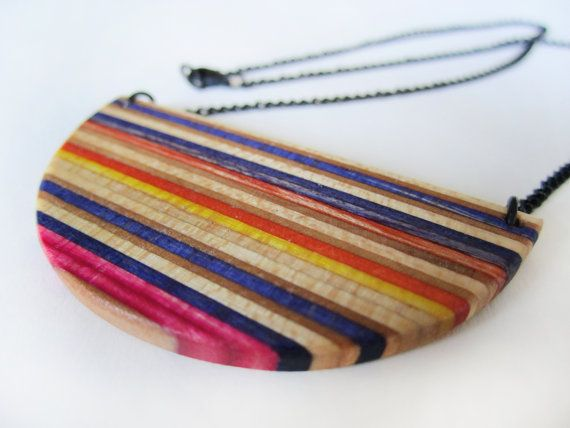 HALF CIRCLE recycled skateboard necklace with short black chain, nickel free chain, colorful jewelry, wood necklace, purple, yellow, orange