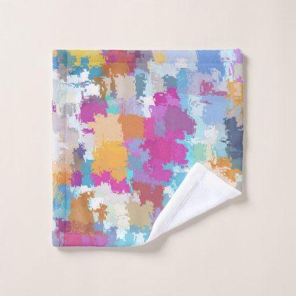 Digital Camo Blue Yellow Pink Pattern Wash Cloth - chic design idea diy elegant beautiful stylish modern exclusive trendy