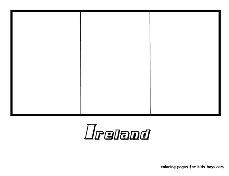 Colouring For Kids Ireland Flag