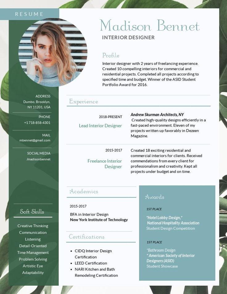 Green Interior design resume template workforce