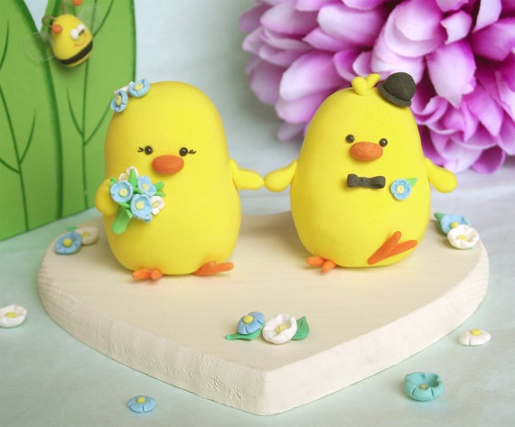 lovely chicks wedding cake toppers #wedding