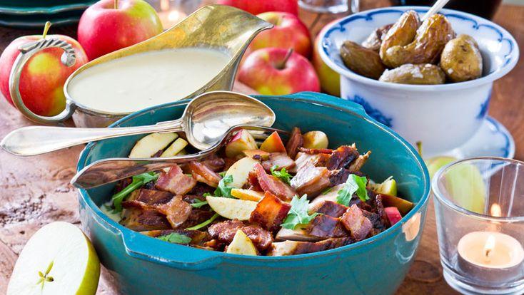 Fläskfilé med bacon och äpple