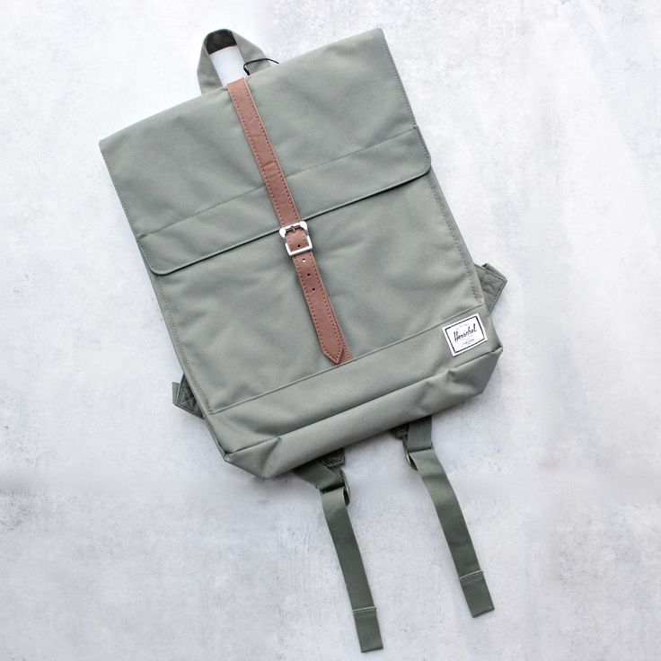 Herschel Supply - City Backpack | Mid-Volume - Deep Lichen Green/Tan Synthetic Leather - shophearts - 1