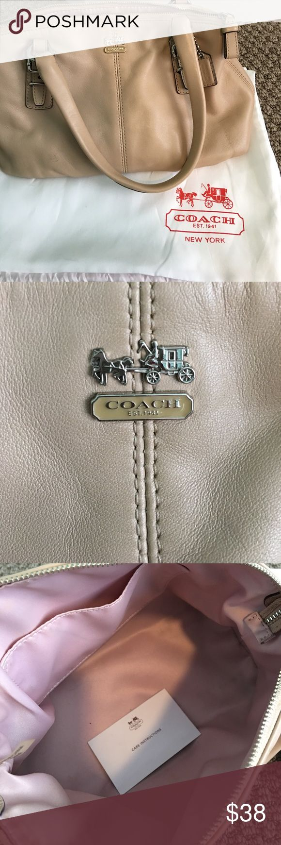 Small Leather Coach Purse W/ Coach Carrying Bag 👛 Small, used leather Coach bag. Beige color with light pink inside. Some signs of wear - price reflects that!! Comes w/ Coach drawstring bag. Bundle & Save! Offers always welcome :) Coach Bags Mini Bags
